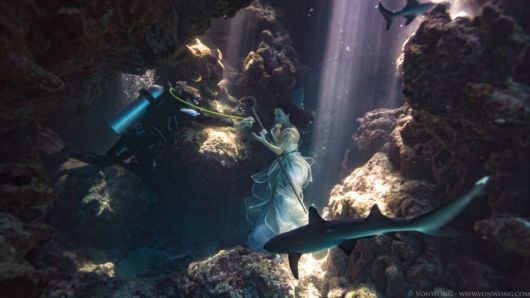 Stunning Photoshoot Of A Model Tied Underwater With Sharks