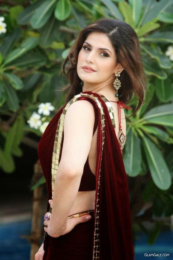 Beautiful Zarine Khan In Maroon Coloured Saree